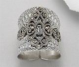 Bijuterii noi: Inel foarte lat din argint oxidat cu marcasite lucrat in stil medieval