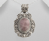 Bijuterii noi: Pandantiv din argint oxidat lucrat in filigran cu piatra naturala roz