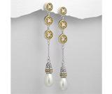 Cercei lungi: Cercei lungi cu perla din argint placat cu aur cu cubic zirconia