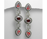 Cercei lungi: Cercei lungi din argint cu marcasite si cubic zirconia rosu