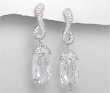 Cercei lungi: Cercei lungi din argint cu piatra transparenta si imitatii de diamante