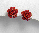 Cercei trandafir rosu din ceramica cu tortita din argint