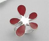 Inel ajustabil model floare din argint cu coral rosu spongios
