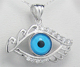 Pandantiv ochi din argint cu aspect de aur alb cu cubic zirconia
