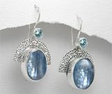 Cercei argint cu kyanite si topaz bleu