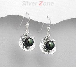 Cercei lungi din argint cu perla neagra de cultura