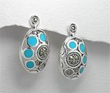 Cercei cu turcoaz albastru reconstruit si marcasite din argint