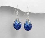 Cercei din argint cu pietricele albastre si bleu