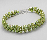 Bratara cu perle verzi de cultura vopsite si argint