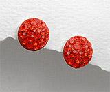 Cercei cu piatra rosie: Cercei argint cu cristale rosii