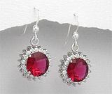 Cercei cu piatra rosie: Cercei din argint cu aspect de aur alb cu imitatie de rubin