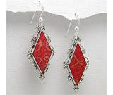 Cercei cu piatra rosie: Cercei din argint cu coral rosu model romb