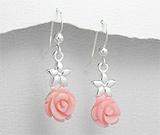 Cercei din argint cu trandafir din scoica vopsita roz