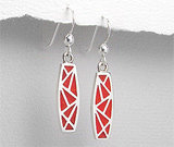 Cercei cu piatra rosie: Cercei din argint mozaic cu piatra rosie