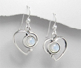 Cercei inima cu pietre semipretioase: Piatra Lunii montata in argint