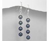 Cercei lungi din argint cu perle negre de cultura