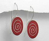 Cercei cu piatra rosie: Cercei spirala din argint in coral rosu spongios oval