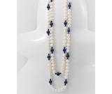 Colier lung cu perle de cultura si Lapis Lazuli
