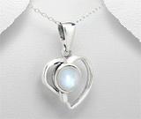 Pandantiv inima din argint si piatra lunii