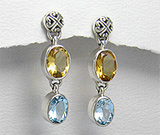 Cercei lungi din argint cu pietre semipretioase: citrin galben si topaz bleu