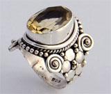 Inel din argint 925 cu piatra semipretioasa citrin galben