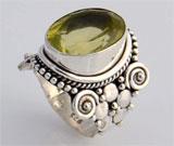Inel din argint model gotic cu piatra ovala semipretioasa Lemon Quartz galben