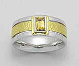 Inel lat din argint placat cu aur de 18 carate cu piatra semipretioasa Citrin galben