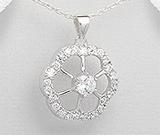 Pandantiv floare argint cu ascpect de aur alb cu imitatii de diamante