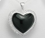 Pandantiv inima mare din argint cu aspect de aur alb cu piatra semipretioasa onix negru si imitatii de diamante