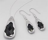 Set: cercei si pandantiv din argint cu aspect de aur alb cu piatra semipretioasa onix negru slefuit multifatetat si imitatii de diamante