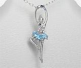 Pandantiv balerina din argint cu piatra semipretioasa topaz bleu