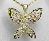 Pandantiv fluture din argint placat cu aur cu pietricele