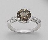 Bijuterii cu cuart fumuriu: Inel din argint 925 cu aspect de aur alb cu cuart fumuriu si imitatii de diamante