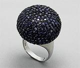 Inel din argint 925 cu aspect de aur alb cu cubic zirconia negru