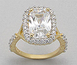 Inele din argint cu piatra alba: Inel din argint placat cu aur cu piatra mare dreptunghiulara si imitatii de diamante