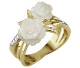 Inel din inox placat cu aur de 18K cu trandafiri albi din sidef