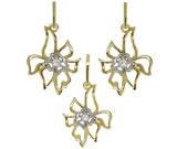 Set cercei si pandantiv floare din inox placat cu aur