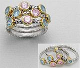 Set format din 3 inele din argint 925 placat cu aur cu pietre roz si bleu