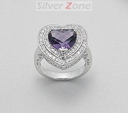 Inel model inima din argint 925 cu aspect de aur alb cu cubic zirconia mov cu imitatii de diamante