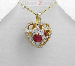 Medalion inimioara care se deschide din argint placat cu aur cu imitatie de rubin si imitatii de diamante
