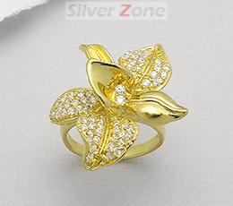 Inel orhidee cu pietricele din argint placat cu aur