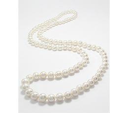 Colier lung cu perle albe de cultura