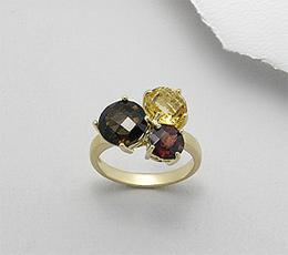 Inel din argint placat cu aur cu pietre semipretioase: cuart fumuriu, citrin galben, granat rosu