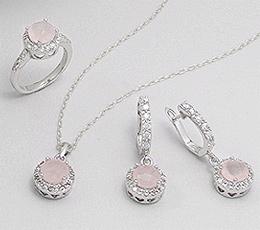 Set din argint si cuart roz: cercei, pandantiv, inel