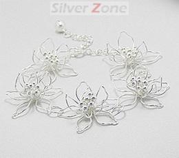 Bratara din argint model flori