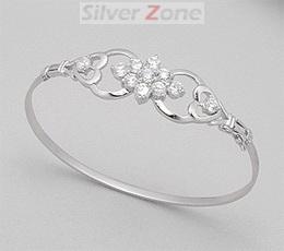 Bratara fixa din argint cu aspect de aur alb model inimi cu pietre albe