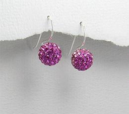 Cercei din argint cu strasuri roz