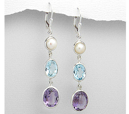 Cercei din argint cu perla de cultura, topaz bleu si ametist mov