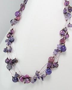 Colier din matase japoneza lila cu ametist, perle de cultura vopsite si margele