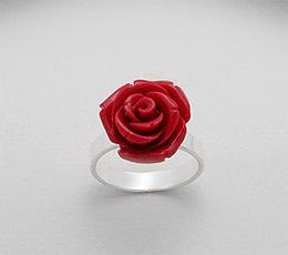 Inel trandafir rosu din ceramica si argint